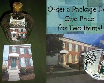 Custom House Portrait Bottle AND House Portrait Christmas Ornament Package Deal