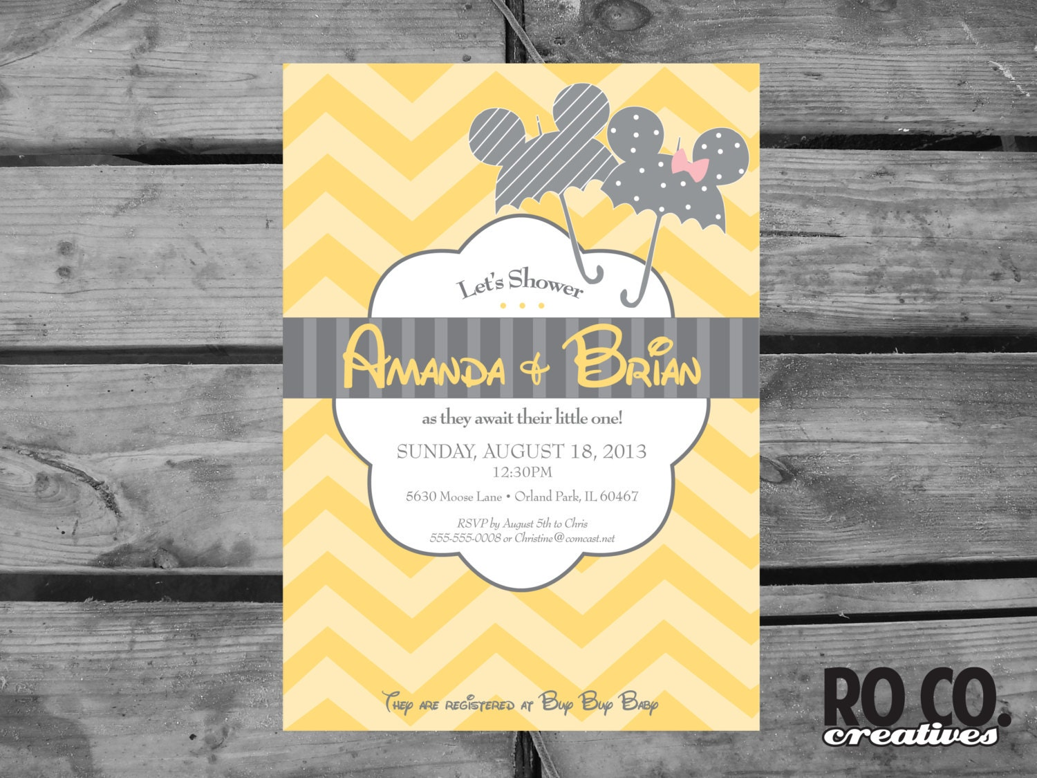 mickey and minnie disney baby shower invitation by rococreatives