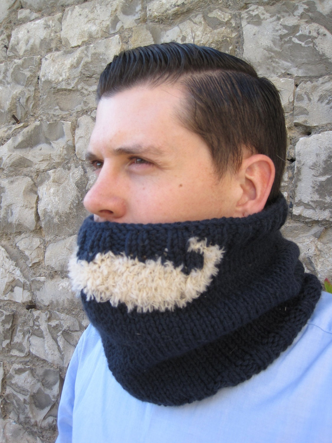knit mustache snood scarf for men from Hand Knitted Scarves For Men Best Wool Scarves For Men