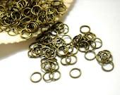 50/100 Antique Bronze Jump Rings 6mm, Open Loop - 11-AB-6OL