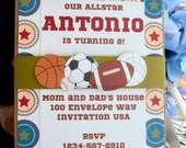 Sports  Invitation, Baseball Birthday Invitation , Sports theme Birthday