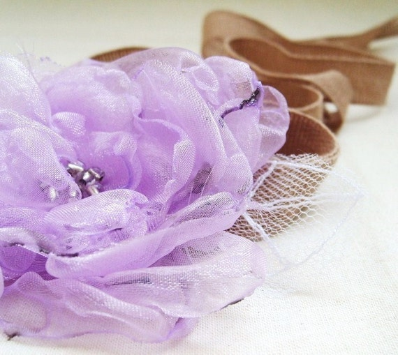 Weddings Bridal Accessories Hair Sash Headband Wrist Corsage Radiant Orchid Purple Pastel Lilac Organza Flower Tulle Leaves Fairytale Flower