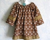 SALE 15% off - Girls Peasant Smock Dress/Top.  Chandelier Print with Leopard Trim - OOAK