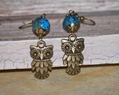 Owl earrings with blue/green ceramic bead, owl earrings, bronze owl earrings, Fall earrings, gift