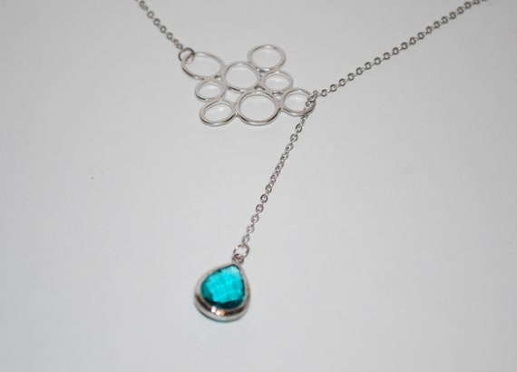 Lariat with dark aqua tear shaped gem and bubble connector, Silver lariat necklace, bubble necklace, breidesmaids necklace