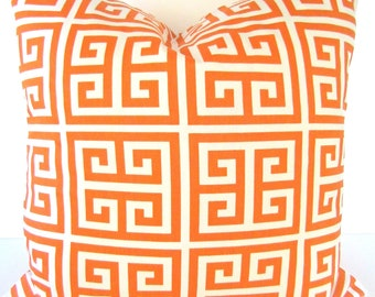ORANGE THROW PILLOWS Orange Decorative Throw Pillow Covers Orange Pillow Covers salmon orange Greek Key Pillow 16x16 Home decor .Sale.
