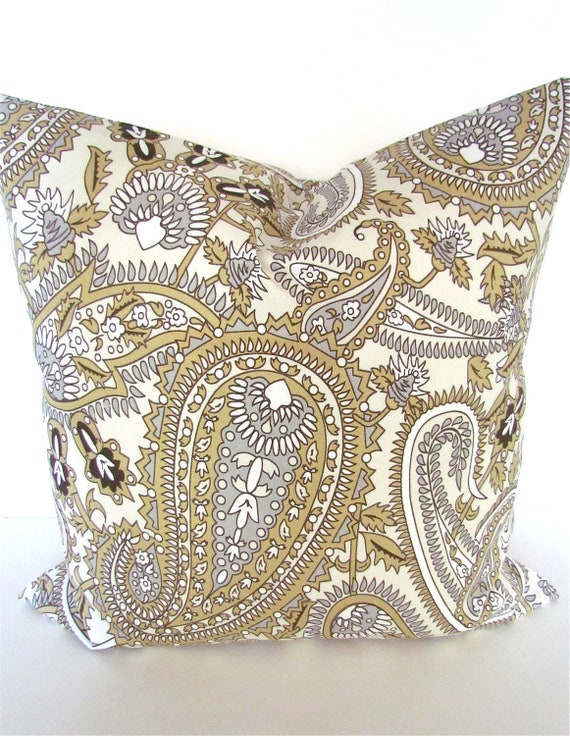 items similar to pillow covers grey decorative throw pillows gray gold paisley 14x14 brown. Black Bedroom Furniture Sets. Home Design Ideas