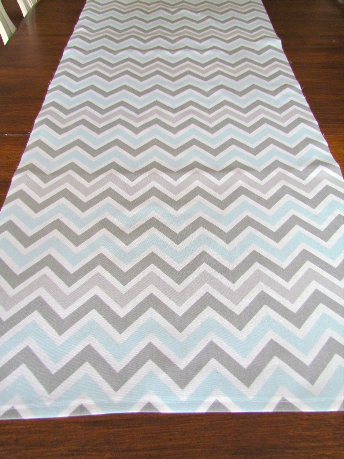 Table Runner Grey Blue Top Wedding Shower Chevron Table