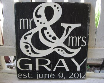 Custom Distressed Wedding Sign- MR & MRS