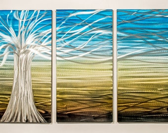 Modern Abstract Painting Metal Wall Art Sculpture Floating Tree I