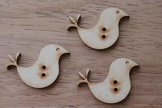 3 Craft Wood Love Bird Buttons, 4 cm Wide, Laser Cut Wood