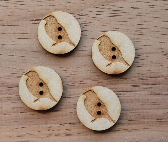 4 Craft Wood Sparrow.Round Buttons, 2.5 cm Wide, Laser Cut Wood