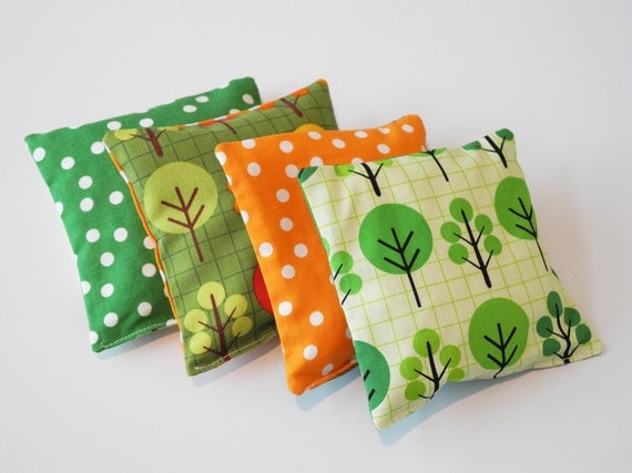 BEAN BAGS, Soy filled Designer Bean Bags are the Perfect Toy, Green and Orange Trees Robert Kaufman Fabric
