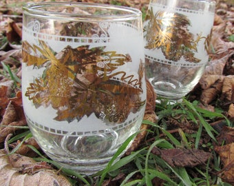 Two Mid-Century Gold Leaves Tumblers
