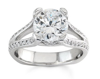 Ladies 18kt white gold pave diamond split band engagement ring 0.25 ctw G-VS2 diamonds with 2ct Round white sapphire