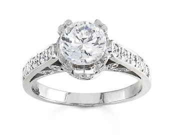 Ladies platinum vintage diamond engagement ring with natural 1ct  Round White Sapphire and 0.40 carats G-VS2 diamonds