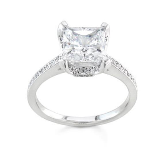 Ladies Platinum diamond engagement ring 0.25 ctw G-VS2 quality with 1.50ct Princess Cut White Sapphire