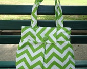 Clearance--Ready To Ship--A Lovely Chartreuse and White Chevron Purse/ City Bag