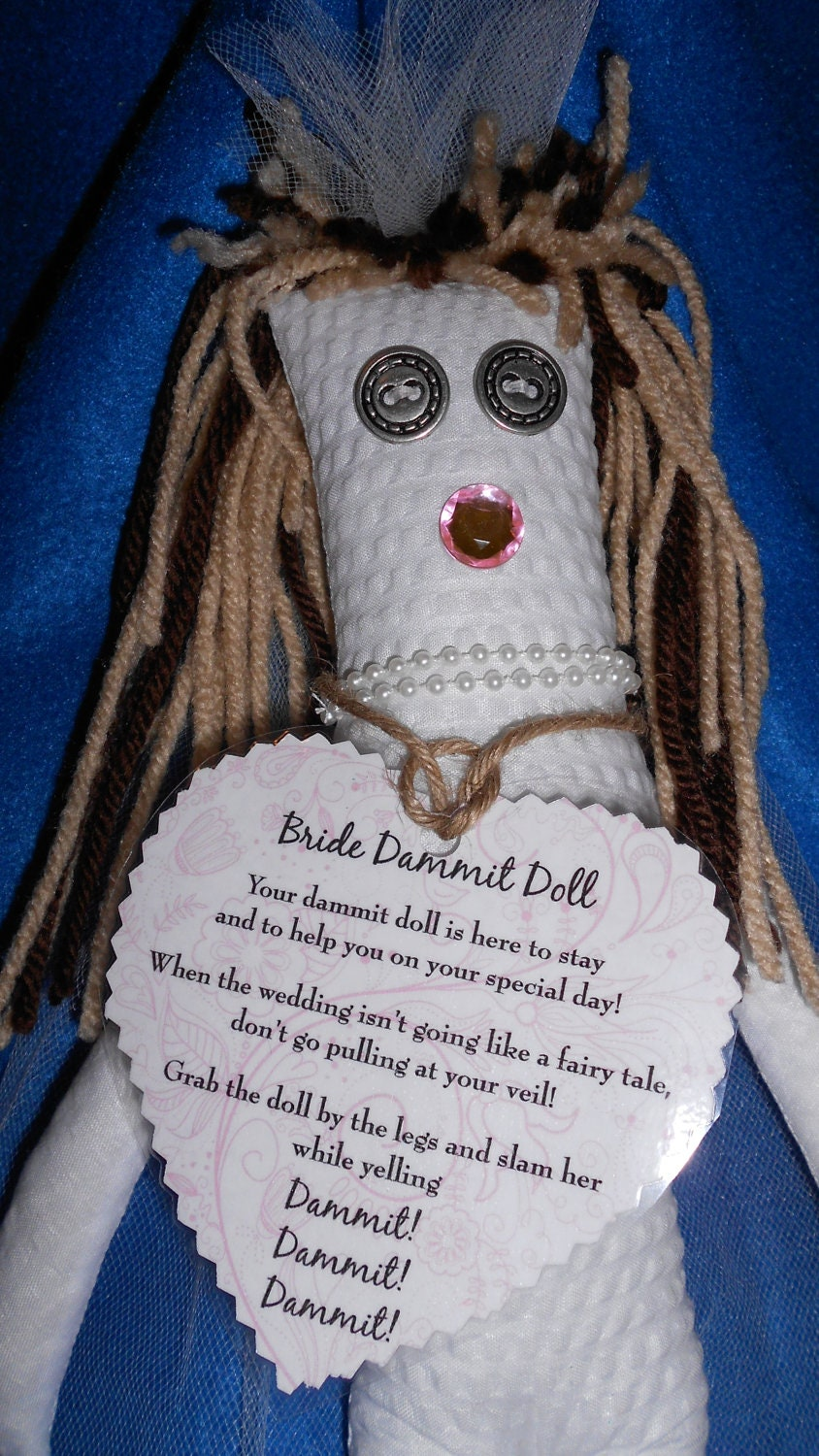 Bride dammit doll has brown hair with blonde by tobeesgifts