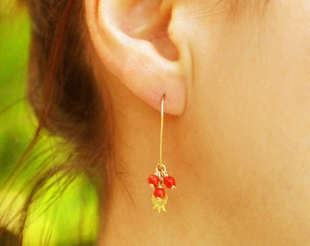 Gold earrings, coral earrings, red earrings, pomegranate earrings, pomegranate jewelry, wire wrapped earrings, red earrings , dangle