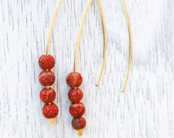 Coral earrings, gold red earrings, red coral earrings, silver coral earrings, bridesmaid earrings, everyday earrings, long earrings