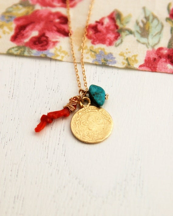 Gold necklace, Natural red coral branch coin turquoise necklace, red coral branch LONG necklace