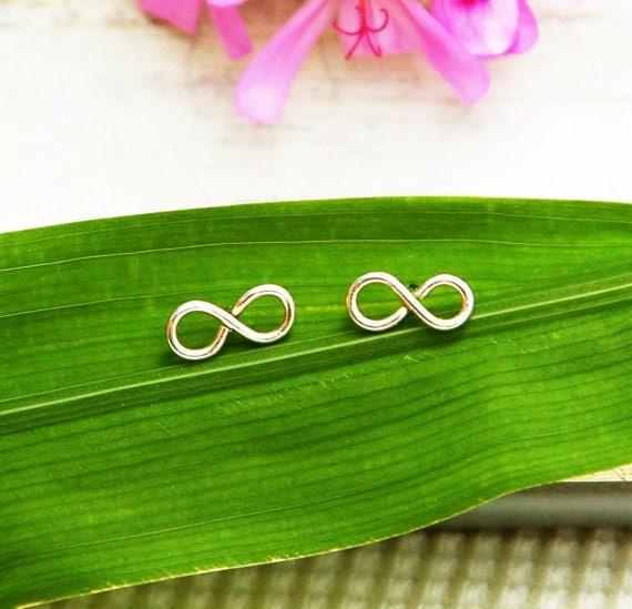 Stud earrings, infinity earrings, silver post earrings, small post earrings, infinity jewelry, everyday stud earrings, gift for her