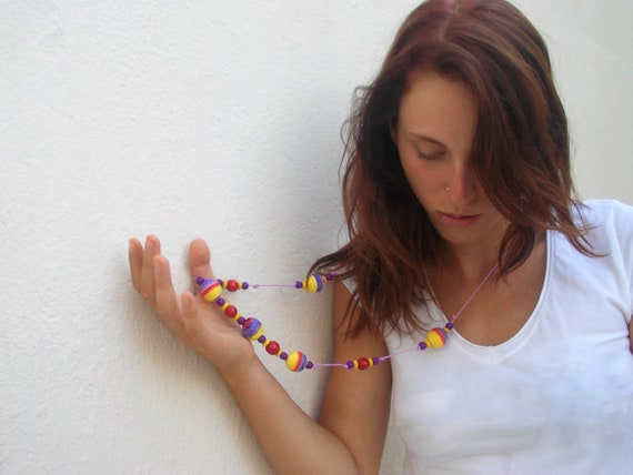 Colorful Beaded Necklace,Chunky Hippie Necklace,Long Multicolored Necklace, Yellow Purple Beaded Necklace,Everyday Fashion