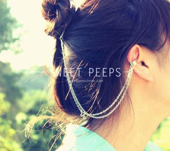 Silver Dainty Cross Ear Cuff Hair Comb