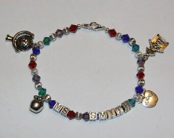 Swarovski Teacher Bracelet with Charms and Teachers Name