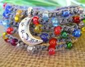 DO You BELIEVE In MAGIC crochet wrap bohemian, hippie chic, bracelet