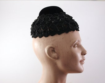 Saks Fifth Avenue Vintage Black Pillbox Hat with hanging black glass jewels circa 1950's