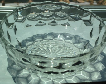 Vintage Fostoria Glass Co. candy dish / nappy (no handle) bowl in cubist American pattern
