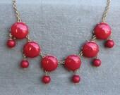 6 Bubble Drop Bib Statement Necklace Red