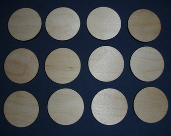 Unfinished Wood Circle cut outs 1inch wood craft disk 12 pieces