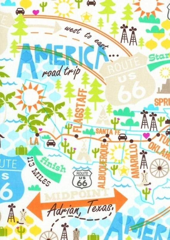 Route 66 Map fabric - America Road Trip US Highway - East to West - YARD