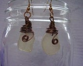Hawaii White Sea Glass Earrings