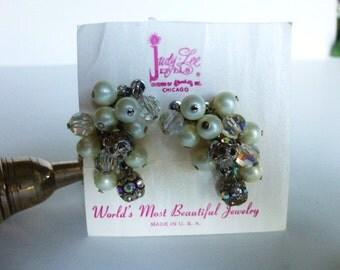 Vintage Cluster Pearl Earring Set by Judy Lee 1950s