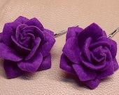 2 Pcs Purple Flannel flower clip, hair clip