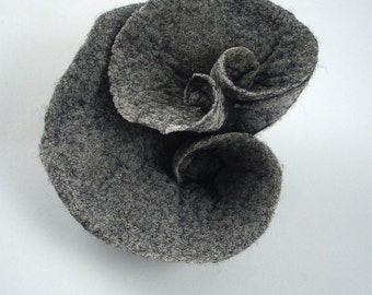 Grey Felted Brooch felt nuno nunofelt Brooch silk flower folk boho grey gray grafit fog wearable art art deco