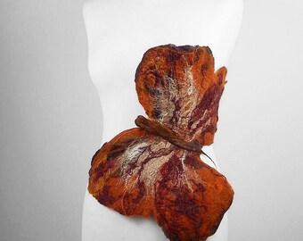 Felted Brooch MOTH felt nuno Art Deco nunofelt fairy brooch amber soft romantic folk boho wool Victorian Fairy