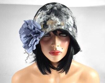 Felted Hat Cloche hat Flapper Hat grey hat RUSSIAN BEAUTY Art Hat Art deco hat Retro hats Felt wearable art Nunofelt Nuno felt