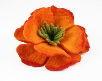 Felted Brooch Tangerine Brooch orange felt nuno nunofelt poppy silk flower folk boho wool