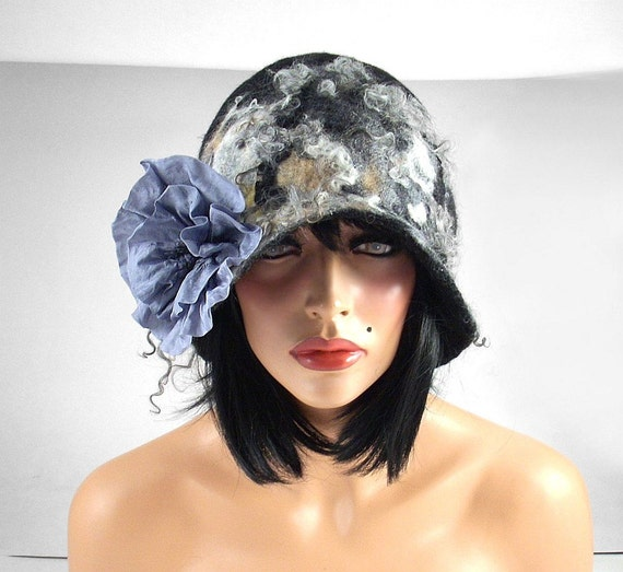 Felted Hat Cloche hat Flapper Hat grey hat RUSSIAN BEAUTY Art Hat Art deco hat Retro hats Felt wearable art Nunofelt Nuno felt