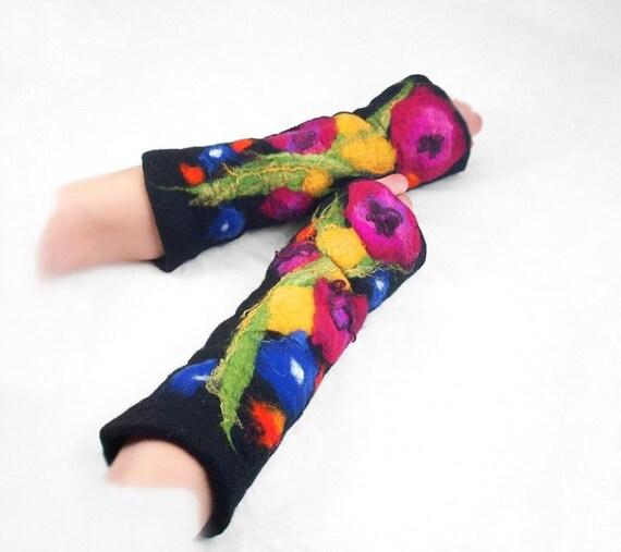 Felted Mittens Nunofelt Mittens Felt Flower Mittens Fairy Mittens Fingerless Mittens wearable art Silk Fiber Art
