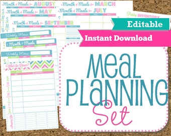EDITABLE and INSTANT DOWNLOAD-Menu Planner Printables- Meal Planning Organization- Home Management  Binder-