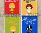 Star Wars Bathroom Set - Set of 8x10 - Even Darth Vader Flushes, C3PO takes a bath, Princess Leia Brushes, Luke Skywalker Washes His Hands