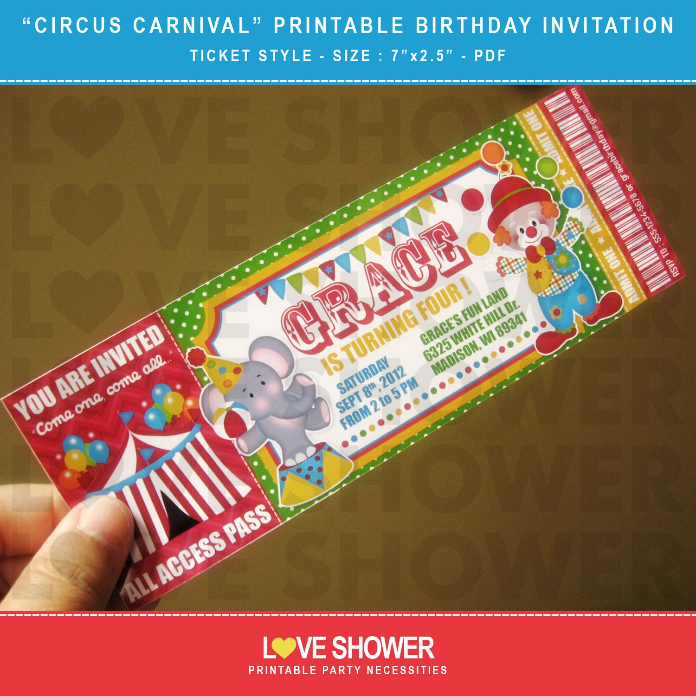 Circus Carnival Printable Birthday Invitation Ticket Style – Carnival Ticket Birthday Invitations