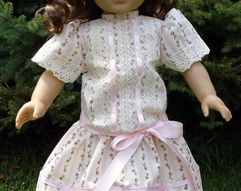 Titanic Era Pink Stripe Ivory Lace Dress made to fit 18 inch dolls