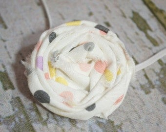 CONVO Me ABOUT SALE: Cream Polka Dot Rolled Rose Newborn Headband, Newborn Headband, Infant Headband, Toddler Headband, Photo Prop